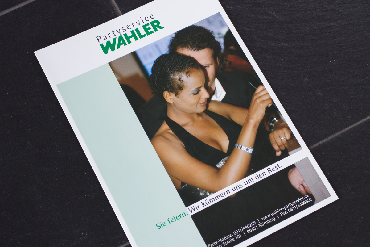 Flyer ergänzen den Werbeauftritt vonPartyservice Wahler