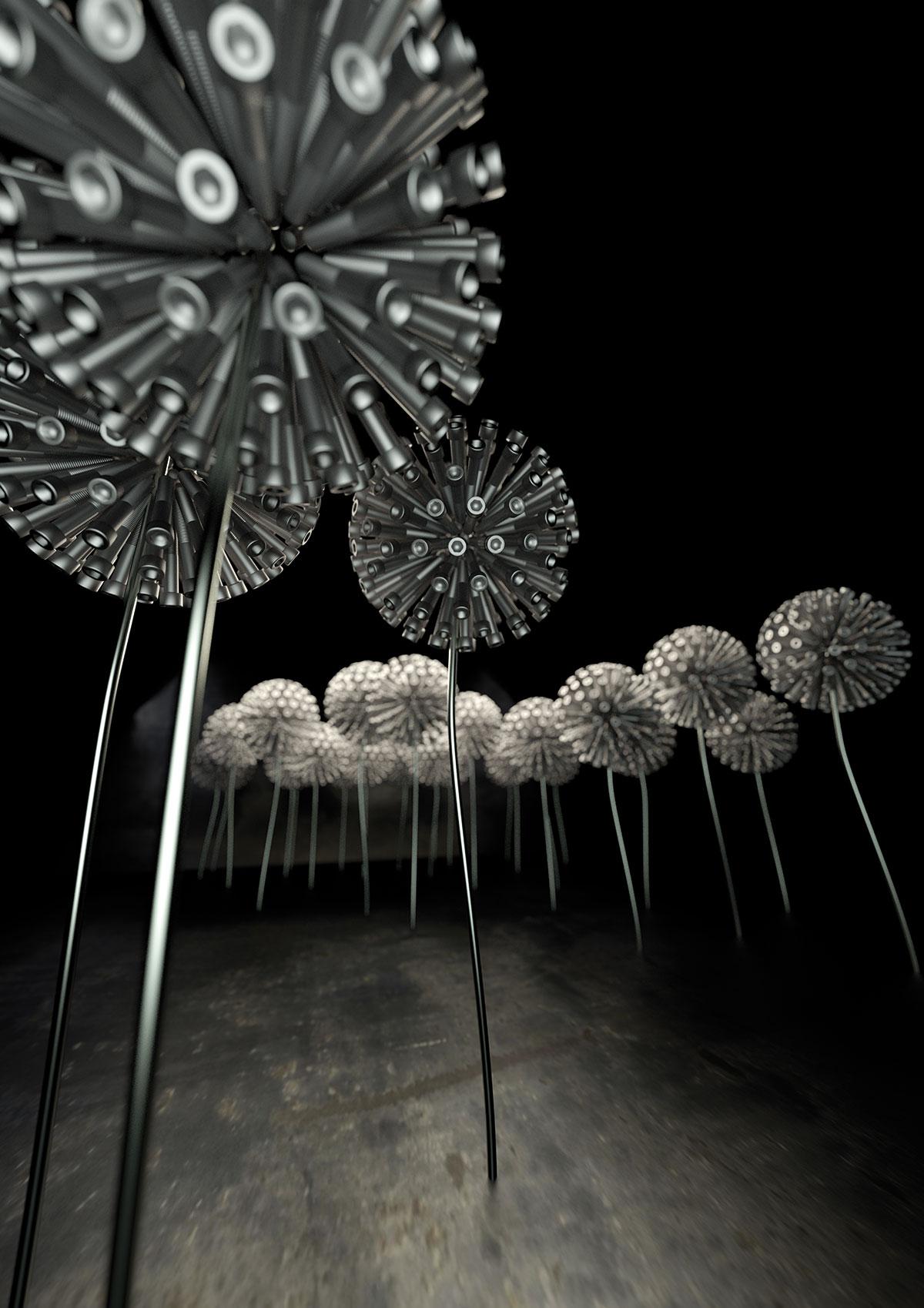 3D-Visualisierung Pusteblumen mit Tiefenschärfe