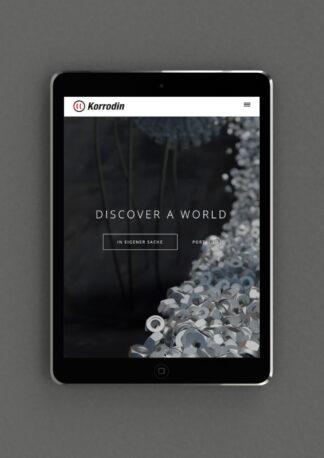 Responsive Design der Korrodin Webseite vorgeführt auf I-Pad