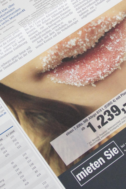 Zuckermund als Beispiel der Anzeigenkampagne mieten Sie