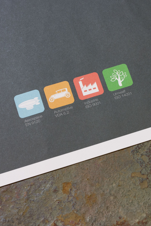 4 Icons stehen für die 4 Hauptbereiche des Unternehmens