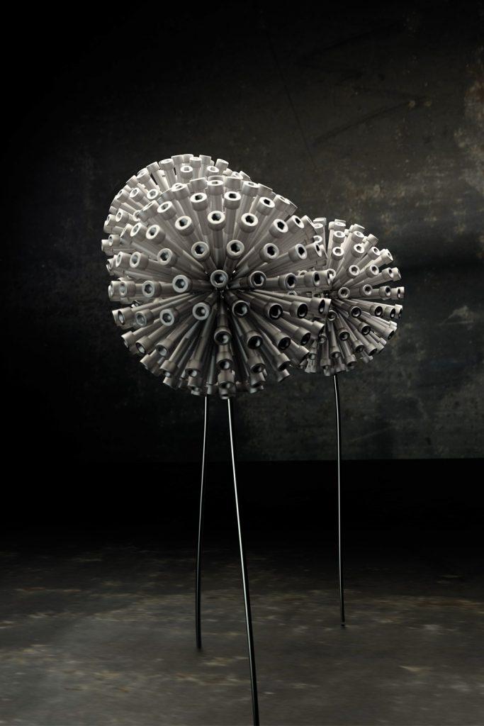 Realistische 3D Grafik dreier Pusteblumen aus Schrauben